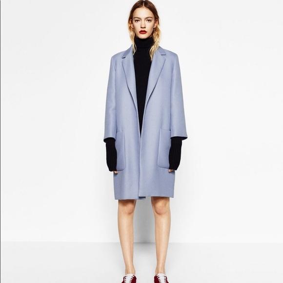 d1cf188870a0 Zara Jackets & Coats | Nwt Baby Blue Periwinkle Long Coat | Poshmark